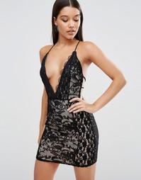 Кружевное облегающее платье с глубоким вырезом Missguided - Черный
