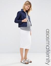 Трикотажная юбка-карандаш миди для беременных ASOS Maternity - Белый