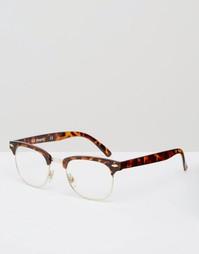 Очки в стиле ретро с черепаховой оправой и прозрачными стеклами AJ Mor