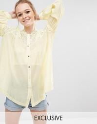 Блузка со сборками и кружевом Sister Jane - Желтый