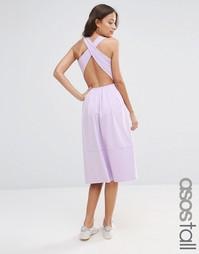 Приталенное платье миди с перекрестными лямками на спине ASOS TALL