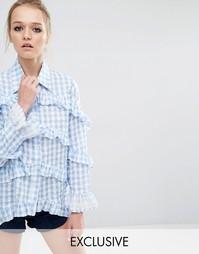 Блузка в клеточку с оборками Sister Jane Checkmate - Синий