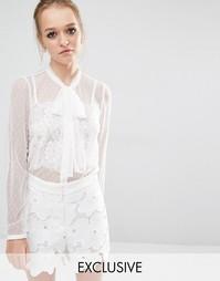 Прозрачная блузка из тюля с завязками на горловине Sister Jane - Белый