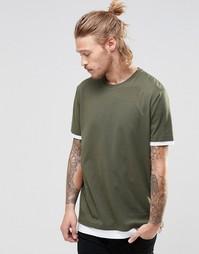 Удлиненная футболка цвета хаки с контрастными манжетами и краем ASOS
