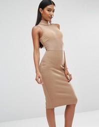 Бандажное платье с топом из сеточки Club L - Кэмел