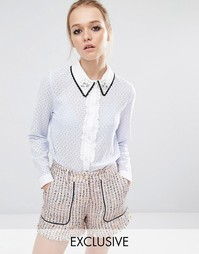Кружевная блузка с контрастной отделкой на воротнике Sister Jane