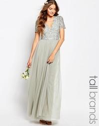 Тюлевое платье макси с v-образным воротом и пайетками Maya Tall