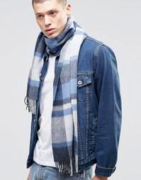 Синий шарф из овечьей шерсти ASOS - Синий