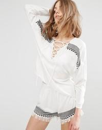 Блузка с завязкой спереди First & I - Белый