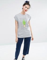 Полосатая футболка бойфренда с принтом кактусов ASOS - Серый меланж