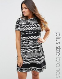 Praslin Plus Skater Dress In Mono Print With Contrast Band