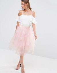 Многослойная юбка миди из тюли Chi Chi London - Розовый