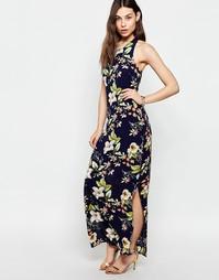 Платье макси с цветочным принтом Parisian - Темно-синий