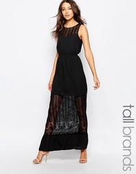 Платье макси с полупрозрачной вставкой Vero Moda Tall - Черный