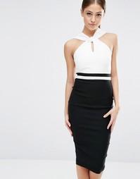 Платье-футляр с перекрученной горловиной Vesper
