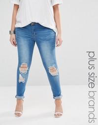 Состаренные джинсы скинни Boohoo Plus - Синий