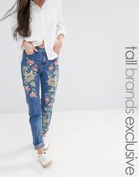 Джинсы бойфренда с цветочной вышивкой Glamorous Tall - Синий