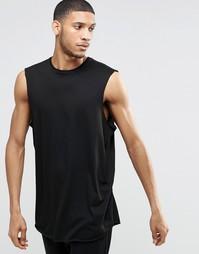 Драпированная oversize‑футболка без рукавов с закругленным низом ASOS