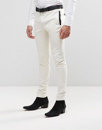 ASOS Super skinny Trousers in White With Black Satin Trim - Белый