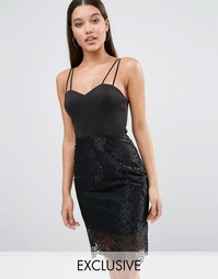 Платье на бретельках с кружевной отделкой Lipsy - Черный