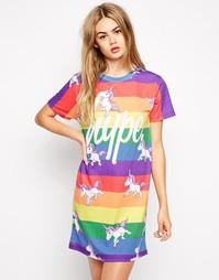Разноцветное платье-футболка с принтом единорогов Hype - Мульти