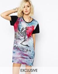 Платье-футболка с коленопреклоненным скелетом, принтом тай-дай и молни Religion