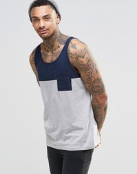 ASOS Vest With Contrast Yoke And Pocket