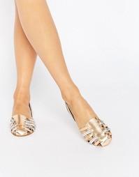 Кожаные летние туфли с переплетением ASOS JALLIN - Серебряный