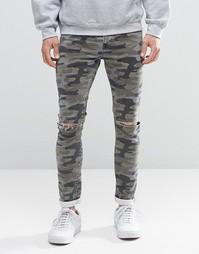 Камуфляжные суперзауженные джинсы с рваной отделкой ASOS - Хаки