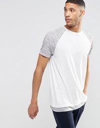 Удлиненная футболка с меланжевыми рукавами и кромкой ASOS