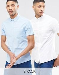 Две оксфордских рубашки с короткими рукавами (белая и голубая) ASOS -