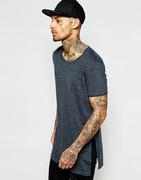 Темно-серая длинная футболка с высокими разрезами по бокам ASOS