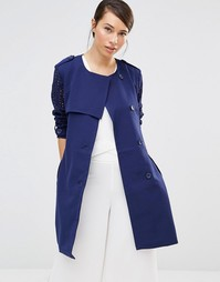 Lavand Soft Drapey Trench Coat - Синий