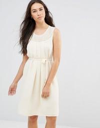 Белое платье без рукавов с завязкой на талии Lavand - Кремовый