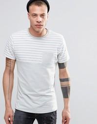 Футболка с полосатой вставкой и карманом на груди Threadbare - Серый