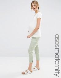 Льняные укороченные брюки для беременных ASOS Maternity - Мятный