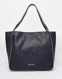 Сумка-шоппер с цепочками Love Moschino - Темно-синий