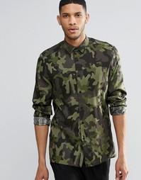 ASOS Camo Shirt In Viscose In Regular Fit - Хаки