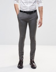 ASOS Extreme Super Skinny Smart Trousers in Grey - Серый