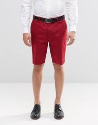 Красные зауженные шорты в строгом стиле средней длины ASOS - Красный