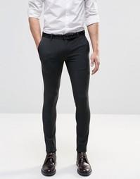 Темно-серые строгие брюки супероблегающего кроя ASOS - Угольный