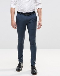 ASOS Extreme Super Skinny Smart Trousers in Blue - Акулья кожа