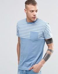 Футболка с полосатой вставкой и карманом на груди Threadbare - Синий