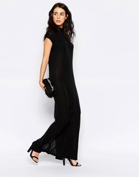 Ichi Sleeveless High Neck Maxi Shift Dress - Черный