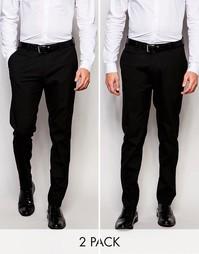 2 пары строгих черных брюк скинни ASOS - Черный