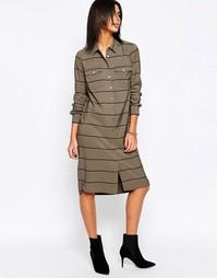 Платье-рубашка миди в полоску Pepe Jeans Fergy - 679military green