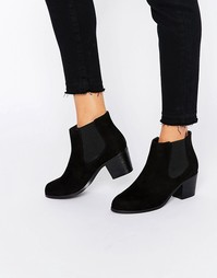 Ботинки челси на среднем каблуке London Rebel - Черное микроволокно