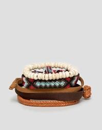 Набор браслетов из искусственной кожи и хлопка ASOS - Коричневый