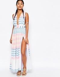 Платье макси из жатого крепа Mara Hoffman - Field stripe