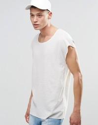 Удлиненная oversize‑футболка с глубоким вырезом из вафельного трикотаж Asos